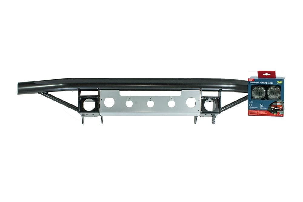 Bearmach Defender Black Tubular Front Bumper With Silver Bash Plate for Land Rover Defender | BA 4211