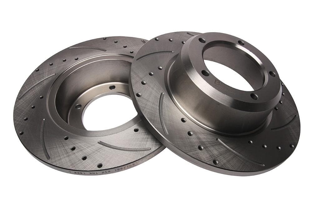 Bearmach Front Drilled & Grooved Brake Discs (Pair) for Defender, Discovery 1, RRC | BA 9606