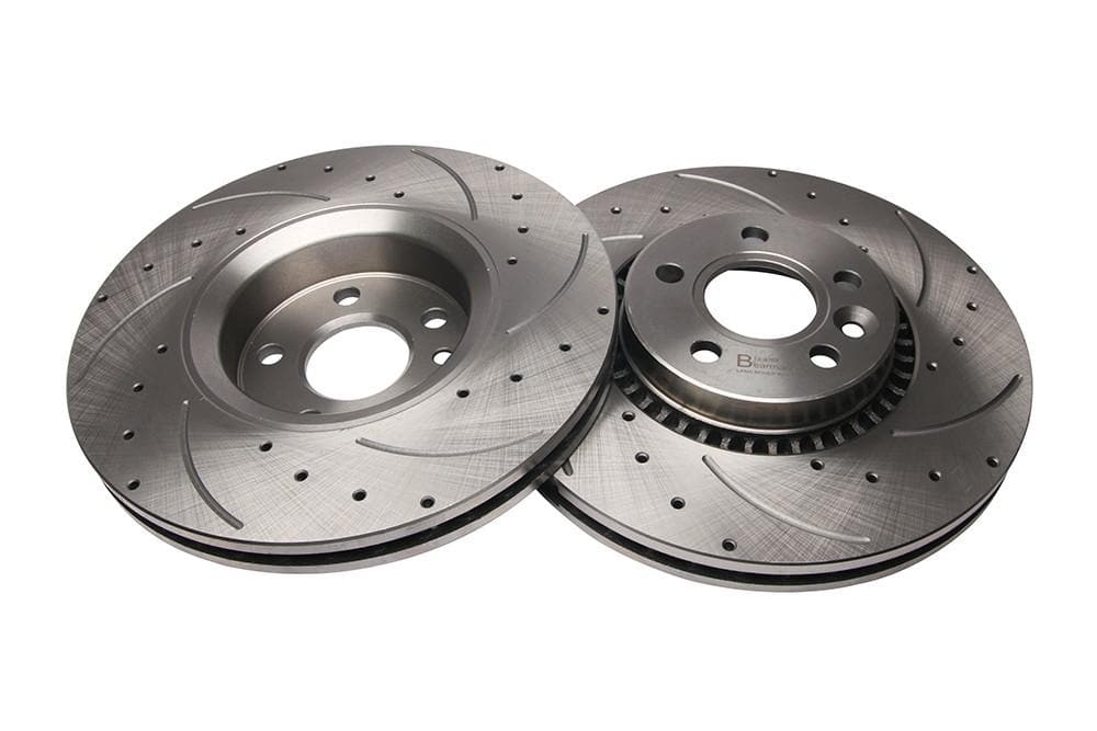 Bearmach Front Drilled & Grooved Brake Discs (Pair) for Land Rover Freelander 2 | BA 9607