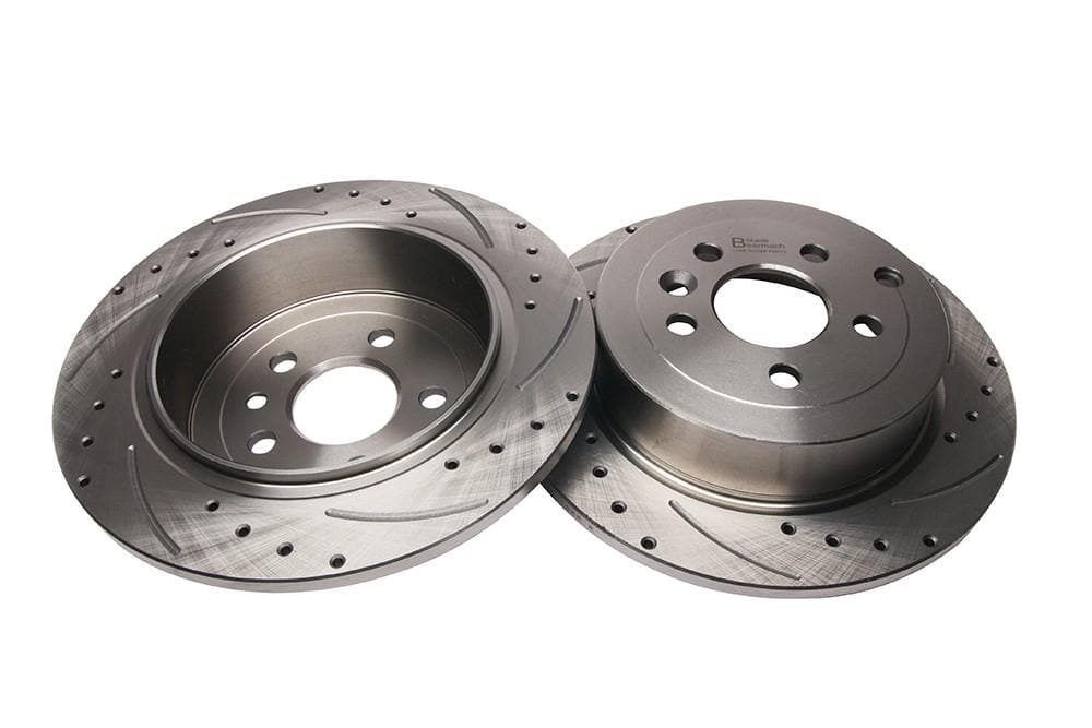 Bearmach Rear Drilled & Grooved Brake Discs (Pair) for Land Rover Freelander 2 | BA 9608