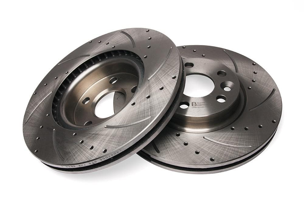 Bearmach Front Drilled & Grooved Brake Discs (Pair) for Freelander 2, RR Evoque | BA 9610