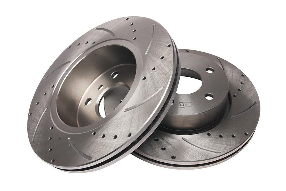 Bearmach Front Drilled & Grooved Brake Discs (Pair) for Range Rover P38 | BA 9611