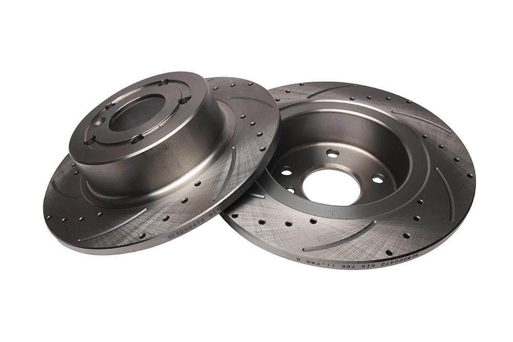 Bearmach Rear Drilled & Grooved Brake Discs (Pair) for Discovery 2, Range Rover P38 | BA 9612