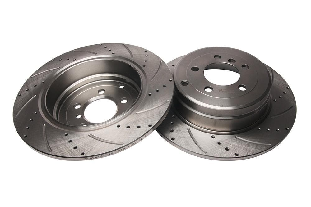 Bearmach Rear Drilled & Grooved Brake Discs (Pair) for Range Rover L322 | BA 9614