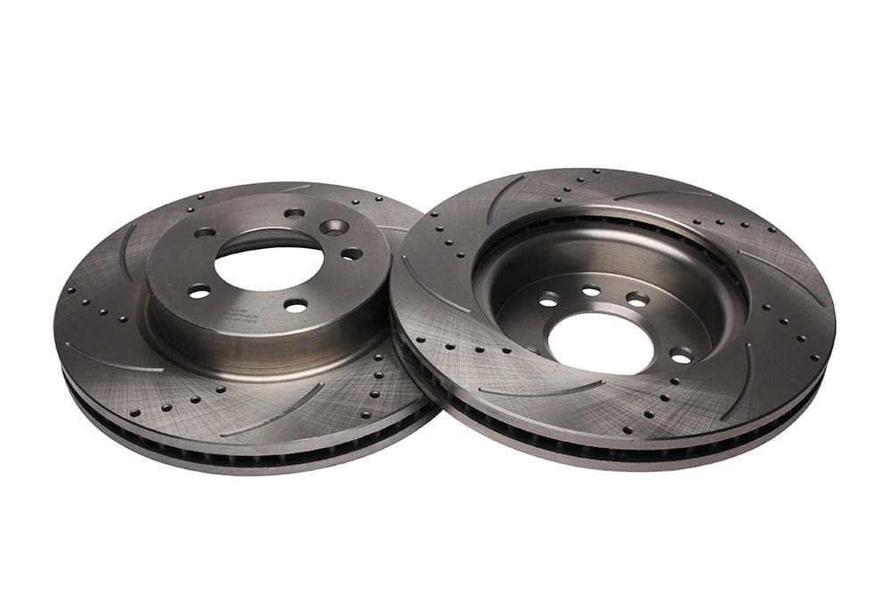 Bearmach Front Drilled & Grooved Brake Discs (Pair) for Discovery 3/4, RRS L320 | BA 9615
