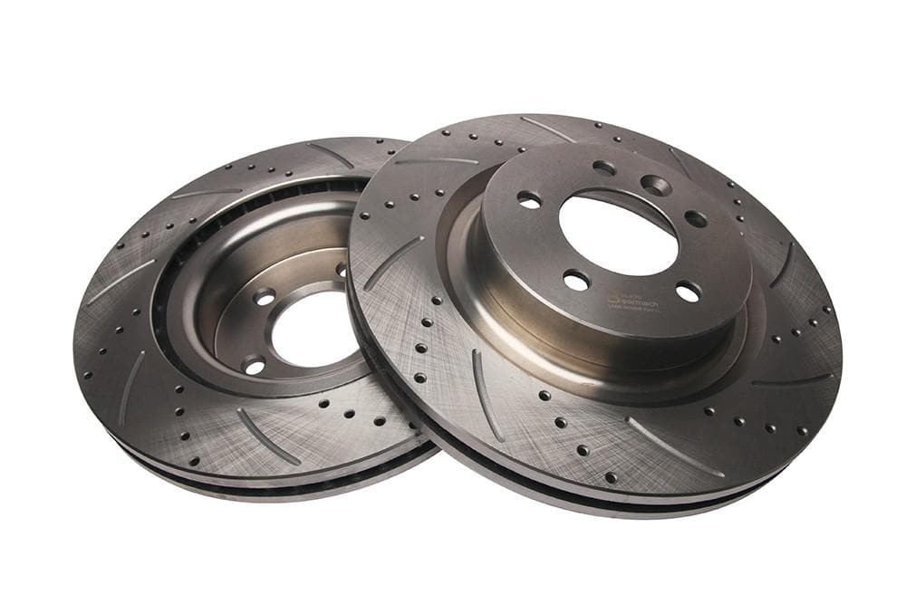 Bearmach Front Drilled & Grooved Brake Discs (Pair) for Discovery 3, RRS L320 | BA 9616