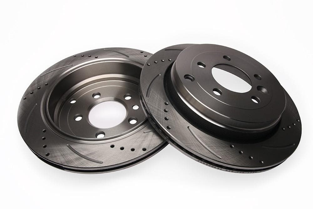 Bearmach Rear Drilled & Grooved Brake Discs (Pair) for Discovery 3/4, RRS L320 | BA 9618