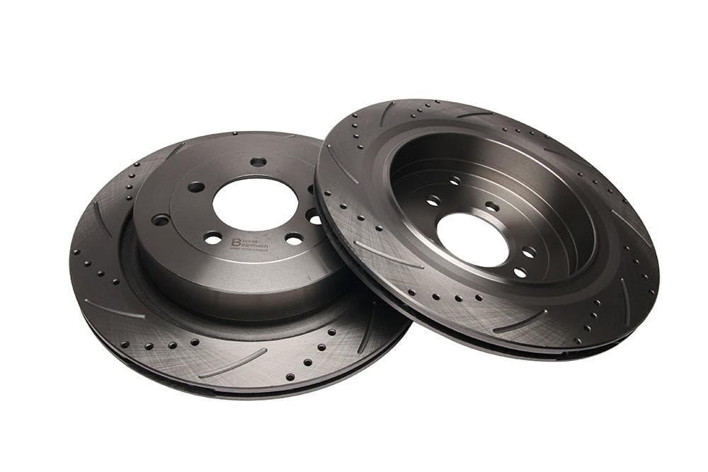 Bearmach Rear Drilled & Grooved Brake Discs (Pair) for Discovery 3, Range Rover | BA 9619
