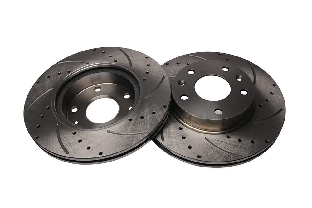 Bearmach Front Drilled & Grooved Brake Discs (Pair) for Land Rover Freelander 1 | BA 9621