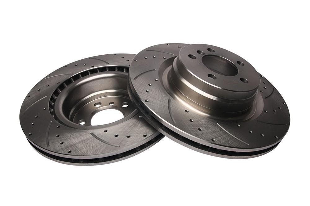 Bearmach Front Drilled & Grooved Brake Discs (Pair) for Range Rover L322 | BA 9623