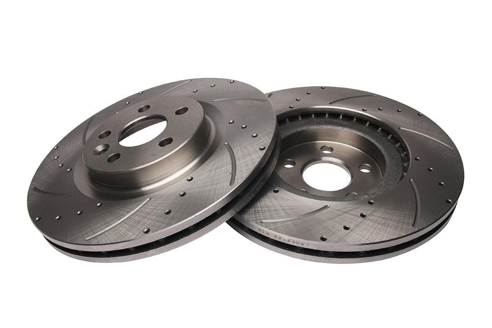 Bearmach Front Drilled & Grooved Brake Discs (Pair) for Discovery Sport L550, RR Evoque | BA 9625