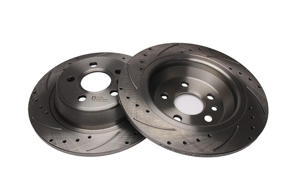 Bearmach Rear Drilled & Grooved Brake Discs (Pair) for Range Rover Evoque | BA 9627
