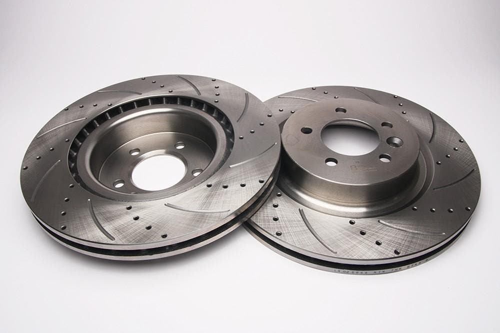 Bearmach Front Drilled & Grooved Brake Discs (Pair) for Discovery 4, RRS L320 | BA 9629