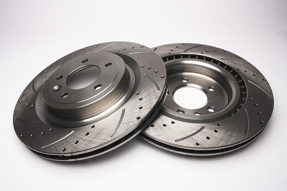 Bearmach Rear Drilled & Grooved Brake Discs (Pair) for Discovery 5, Range Rover L405, RRS L494| BA 9636