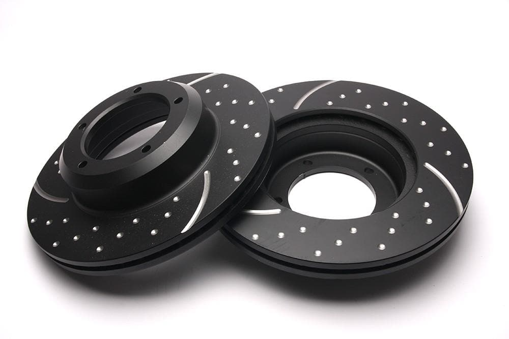 EBC Front Performance Drilled & Grooved Brake Discs (Pair) for Land Rover Defender, Discovery, Range Rover | BR 1257P
