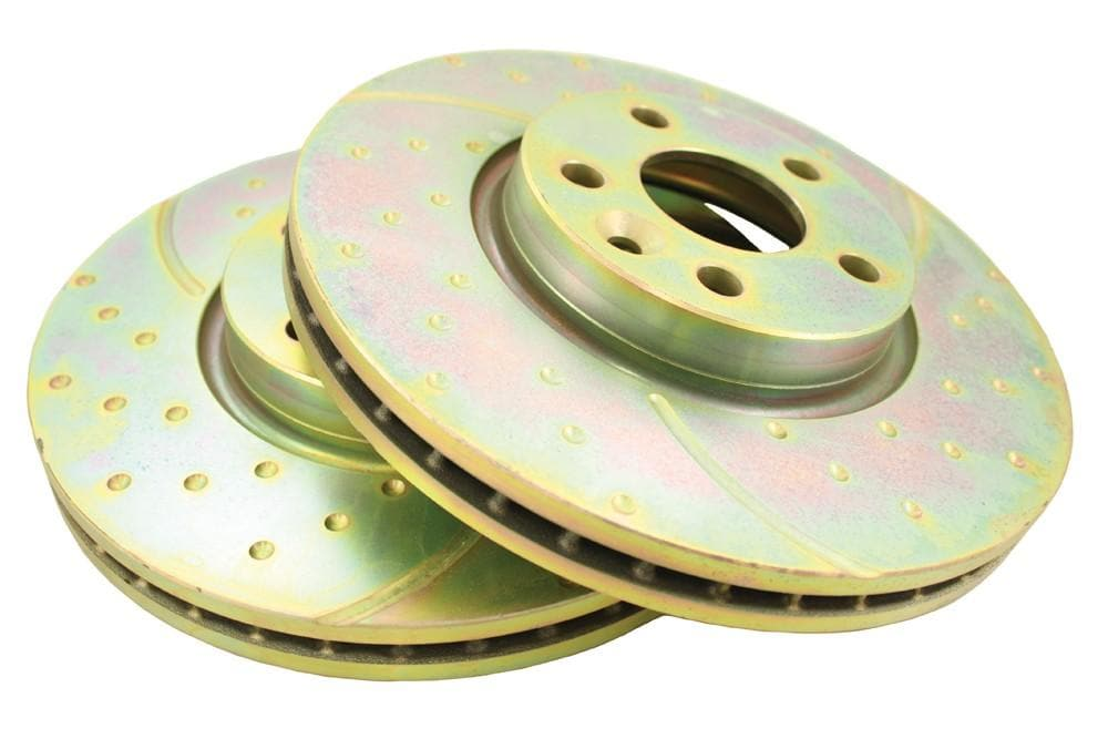 EBC Front Performance Drilled & Grooved Brake Discs (Pair) for Land Rover Freelander, Range Rover | LR007055P
