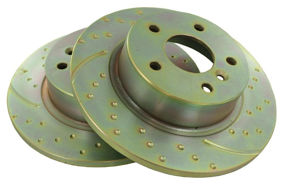 EBC Rear Performance Drilled & Grooved Brake Discs (Pair) for Land Rover Discovery, Range Rover | NTC8781P
