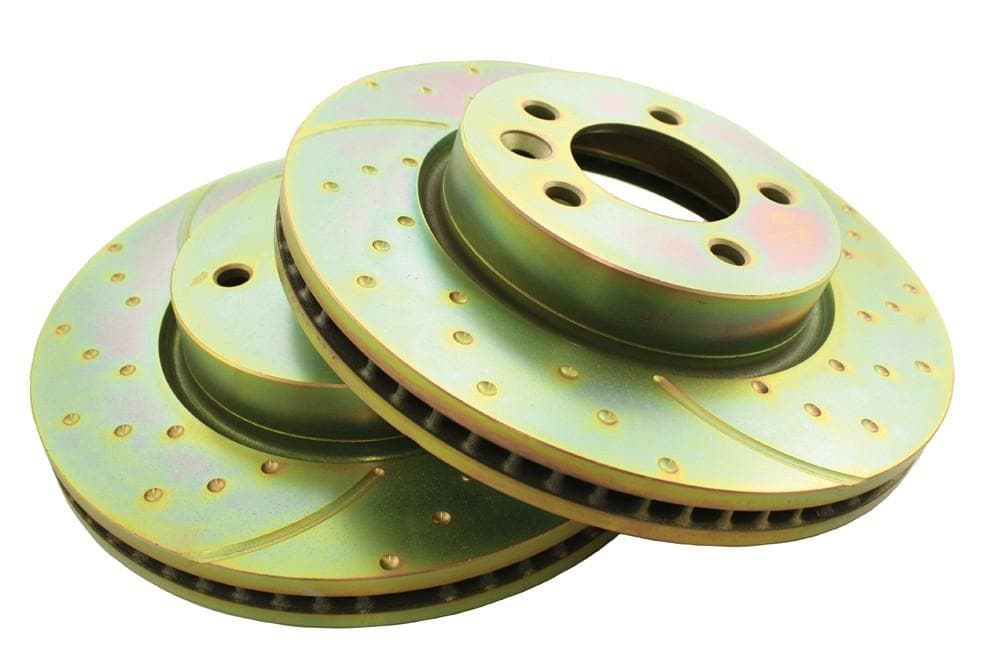 EBC Front Performance Drilled & Grooved Brake Discs (Pair) for Land Rover Discovery, Range Rover | SDB000602P