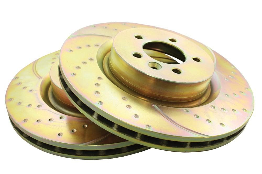 EBC Front Performance Drilled & Grooved Brake Discs (Pair) for Land Rover Discovery, Range Rover | SDB000622P