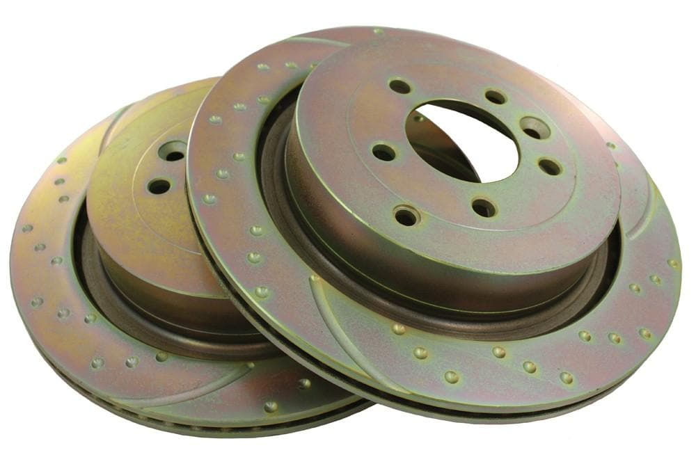EBC Rear Performance Drilled & Grooved Brake Discs (Pair) for Land Rover Discovery, Range Rover | SDB000645P