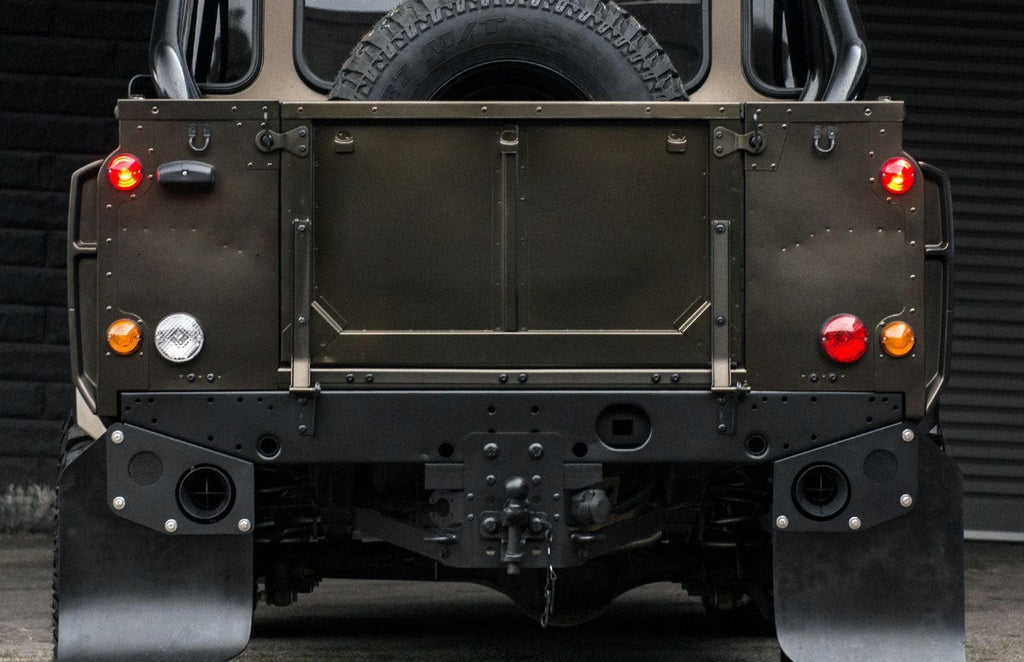Kahn Twin Crosshair SS Exhaust System With Mudflaps - Defender 90