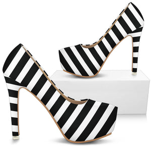 Black and white striped shoes