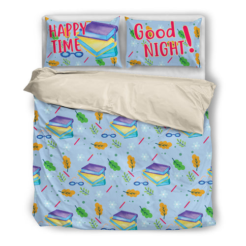 Happy time (read books) Good night! Bedding set Beige