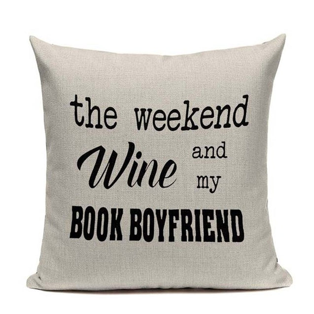 Book Tea Coffee Wine Cushion Cover