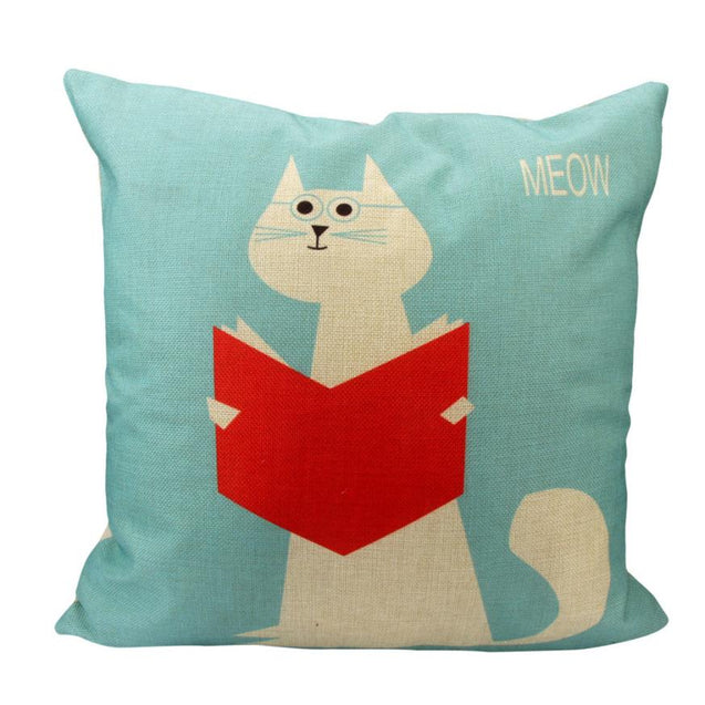 Cute Cat Read Book Cushion Cover