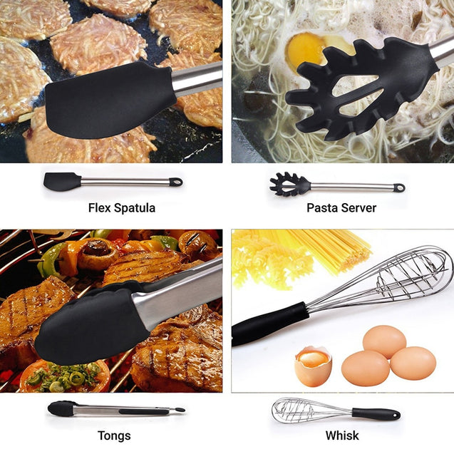 6 & 8 Pieces Super Sturdy Cooking Utensils Set & Non Stick Silicone