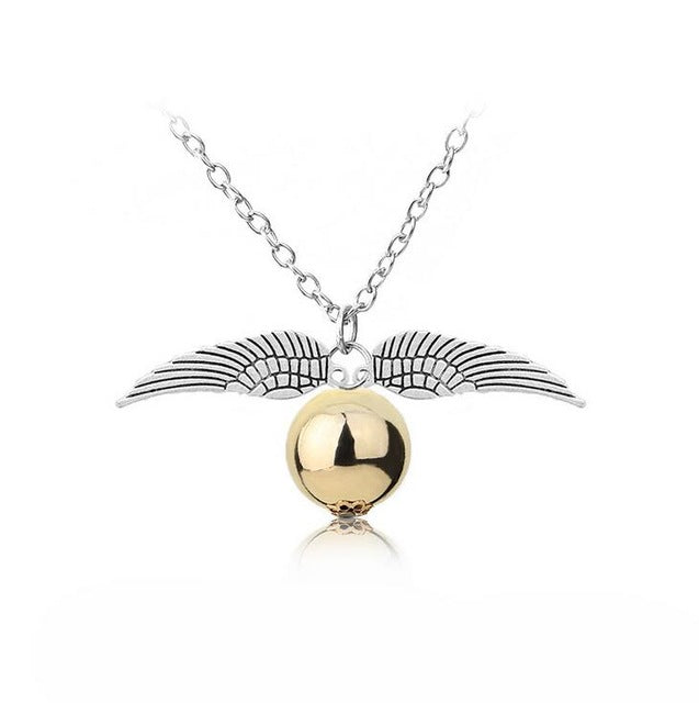 New harry potter snitch gold necklace