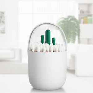 Toothpick Cotton Swab Holder with Cute Artificial Cactus Mini Tree Decorated Kitchen