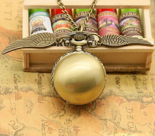 Golden Wings  Balls Snitch Harry Potter  Watch Necklace Snitch
