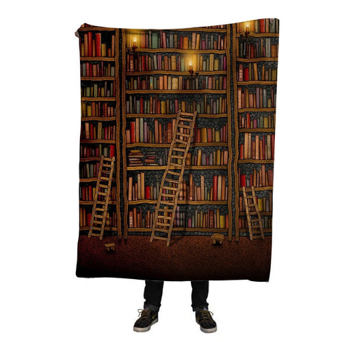 New Arrival 3D Blanket Library Books 3D Print Soft Flannel Home Hotel