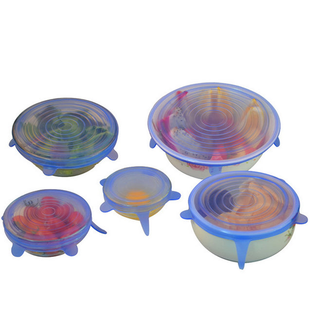 6PCS/Set silicone stretch lids food wrap bowl pot lid silicone cover