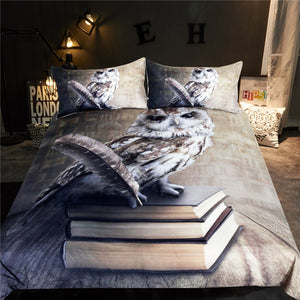 Bedding Set Queen Vivid Printed Duvet Cover 3D Books Animal