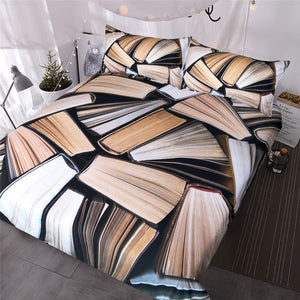 Books Pile Bedding Set Vivid 3D Printed Duvet Cover Sleep in the Knowledge