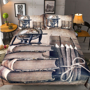 3d Printed Books Bedding Set Globe and Pens Duvet Cover Set Vintage Home