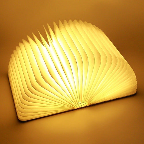 Big Size Portable USB Wooden Folding Book Lamp LED Night Light Art Decorative Lamp Warm White