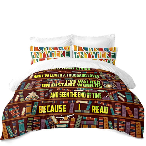 Cartoon Bookshelf Painted Bedding Set Colorful Books Letter Print Duvet Cover Set