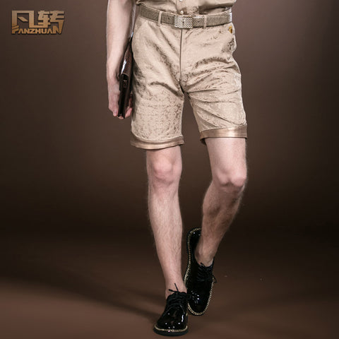 Free Shipping fashion casual Men's New Summer palace style Shorts Khaki cotton jacquard slim slim casual shorts 14908 on sale
