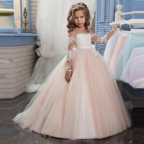 2017 New Champagne Puffy Lace Flower Girl Dress Weddings Long Sleeves Ball Gown Kids Party Communion Pageant Gown Vestidos 0-12Y
