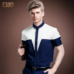 FanZhuan Free Shipping New fashion casual male men's thin personality summer short sleeve shirt slim blouse Blue and white 14342