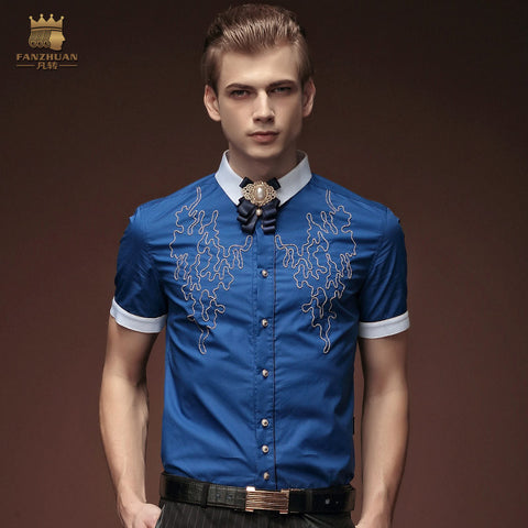 Free Shipping New fashion casual personality male Men's summer blue short sleeved embroidered shirt 15355 European man FanZhuan