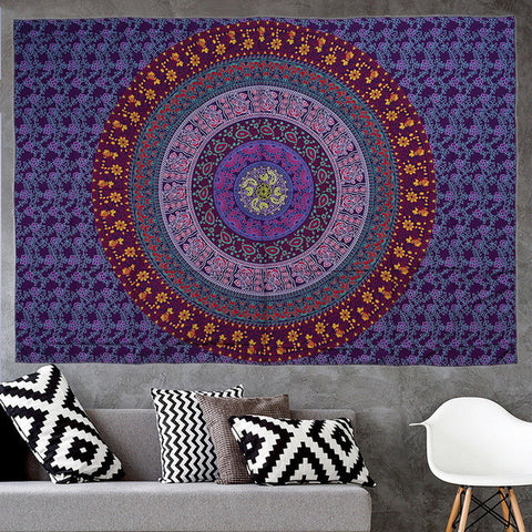 Elephant Square beach towels Indian tablecloth Wall Hanging Hippie Elephant Mandala Bedspread Ethnic Throw Art Multifunction