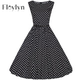 Floylyn  Plus Size XS-4XL Vintage vestidos V Neck Women Party Dress