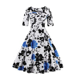 FLOYLYN 2017 Floral Print Dress Half Sleeve S-5XL Plus Size 50s 60s Retro Swing Vintage Dress Elegant White Black Dresses