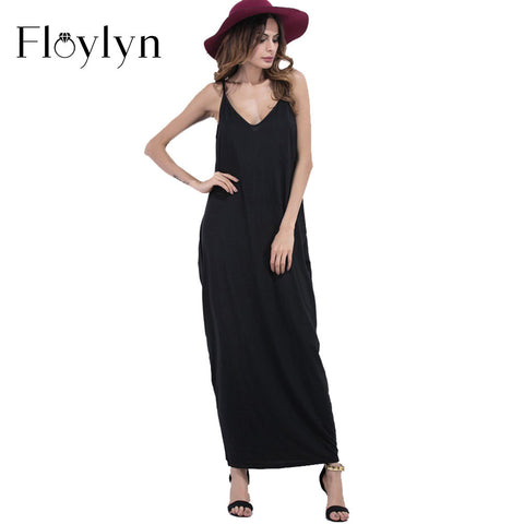 Floylyn Black Halter Summer Dress Strap V Neck Loose Sexy Beach Dresses Women 2017 New Maxi Backless Long Dress