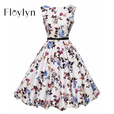 FLOYLYN Women Vintage Leaf Printed Dress Casual Sleeveless Summer Style Dress 40s 50s Rockabilly Hepburn Sashes Dress