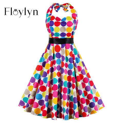 FLOYLYN 50S Pinup Hepburn Vintage Women Summer Draping Slim Polka Dot Swing Dress Halter Neck Vestidos Femininos Backless